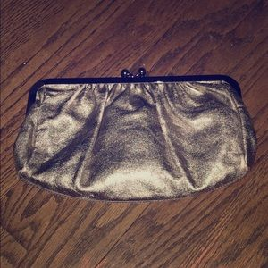EXPRESS gold faux leather clutch